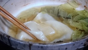 寄せ鍋のシメ 餃子の皮のレシピ