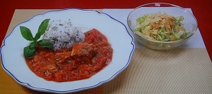 さばのトマト煮&春キャベツサラダ