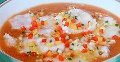 ミズダコのカルパッチョ 夏の冷たいスープ