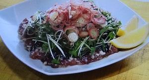 奥薗流!ニンニクと海苔のお刺身サラダ