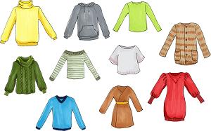 洋服、セーター、フリース