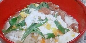 青ネギと梅干しの卵とじのレシピ