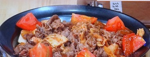 キムチと牛肉のごま油炒め