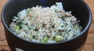 セロリと豚肉の混ぜご飯