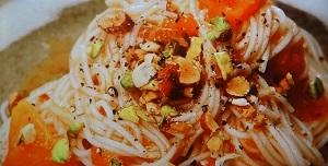 柿の冷製カッペリーニ風そば