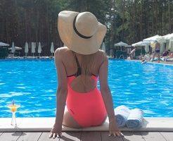 プール、夏、女性、帽子