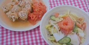 ロール白菜のトマト煮、サラダ