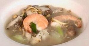 海老ときのこの黒酢スープ