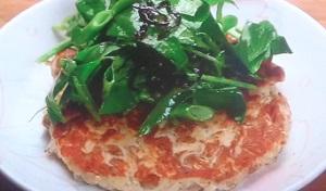 納豆お焼きの空心菜のっけ