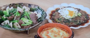 小松菜と牛こまのペペロンチーノ炒め、ハンバーグ