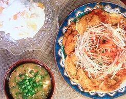 大和芋のチヂミ&ナムル、納豆汁