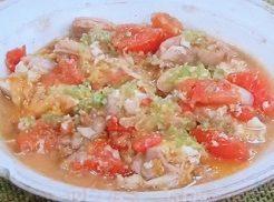 トマトと鶏肉の卵とじ